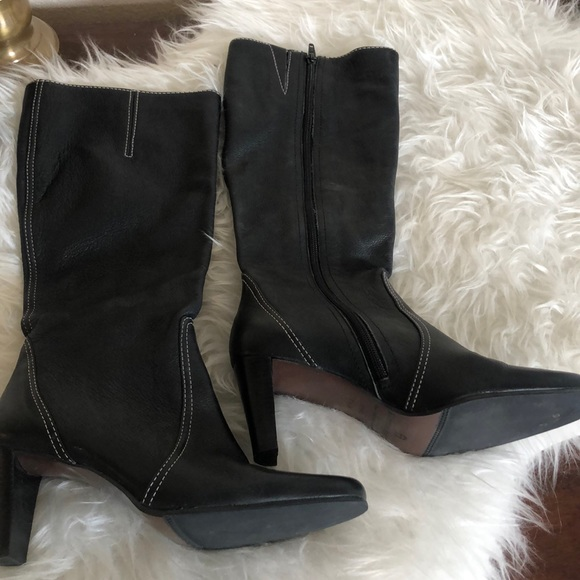Etienne Aigner black tall Shag heeled boots
